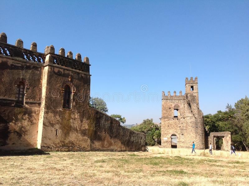 Fasil Castle Gondar Ethiopia. In the 16th and 17th centuries, the fortress-city of Fasil Ghebbi was the residence of the Ethiopian emperor Fasilides and his stock images