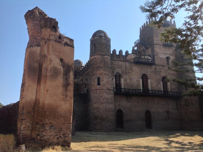 Fasil Castle Gondar Ethiopia. In the 16th and 17th centuries, the fortress-city of Fasil Ghebbi was the residence of the Ethiopian emperor Fasilides and his royalty free stock photo