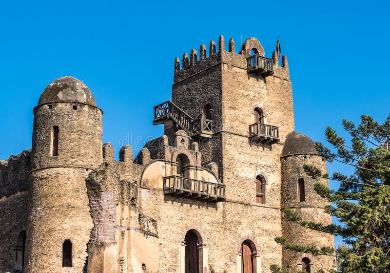 Fasil Ghebbi es los restos de una fortaleza-ciudad dentro de Gondar, Etiop?a fotografía de archivo