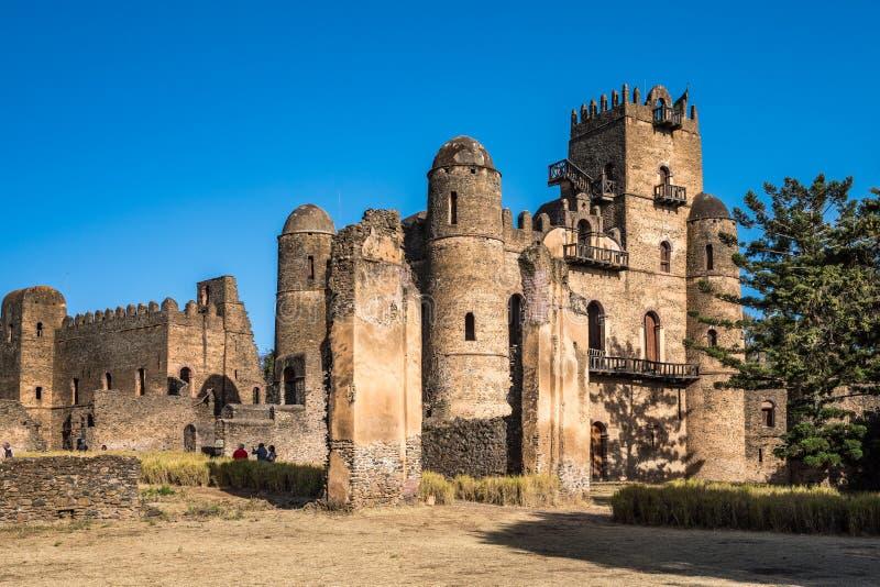 Fasil Ghebbi est les restes d'une forteresse-ville dans Gondar, Ethiopie images libres de droits