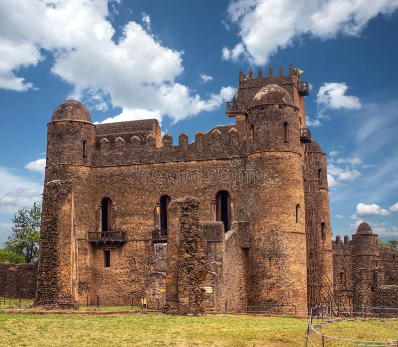 Fasil Ghebbi, kasteel in Gondar, Ethipia-Erfenis royalty-vrije stock afbeeldingen