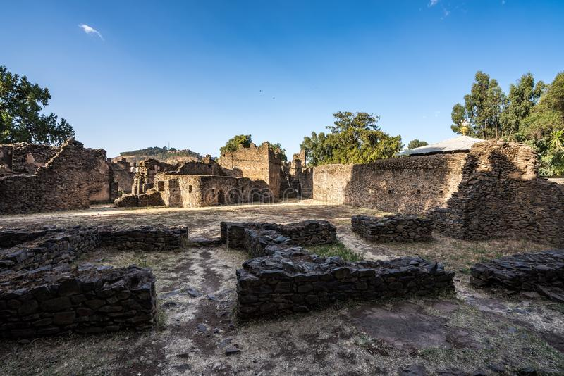 Fasil Ghebbi is the remains of a fortress-city within Gondar, Ethiopia stock image