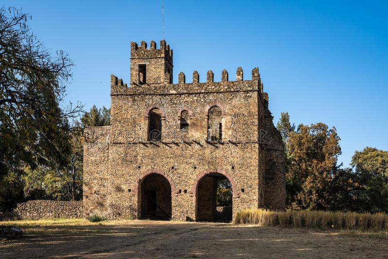 Fasil Ghebbi is the remains of a fortress-city within Gondar, Ethiopia. Fasil Ghebbi Royal Enclosure is the remains of a fortress-city within Gondar, Ethiopia stock images