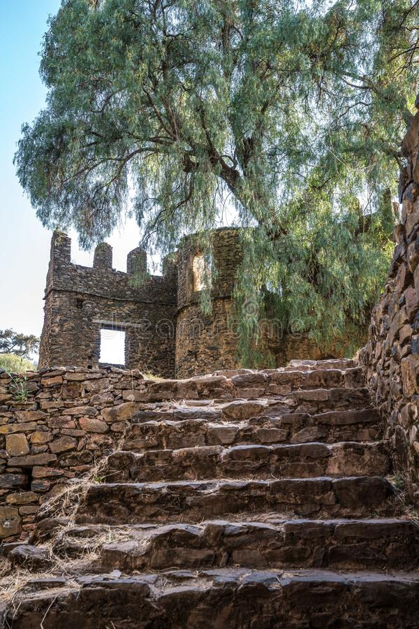 Fasil Ghebbi is the remains of a fortress-city within Gondar, Ethiopia. Fasil Ghebbi Royal Enclosure is the remains of a fortress-city within Gondar, Ethiopia stock photography