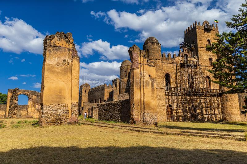 Fasil Ghebbi Royal Enclosure, em Gondar, Etiópia foto de stock royalty free