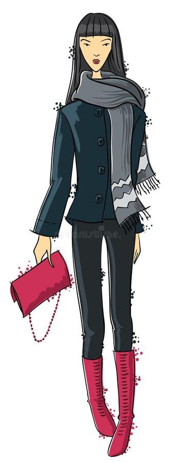 Download Fasion girl stock vector. Image of footwear, show, skarf - 22341951