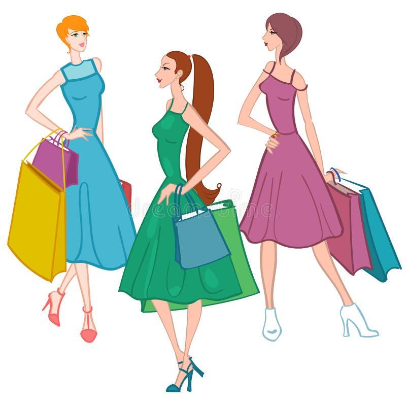 Fasionable flicka med shoppingpåsar också vektor för coreldrawillustration royaltyfri illustrationer
