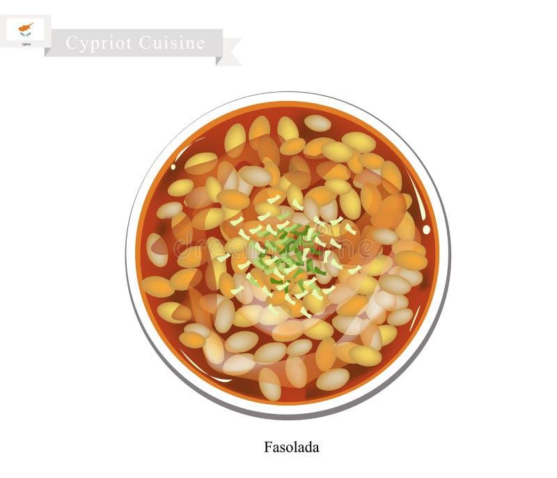 Fasolada of Traditioneel Cypriotisch Wit Bean Soup stock illustratie