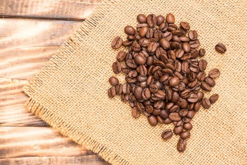 fasole graniczą burlap kawę fotografia stock