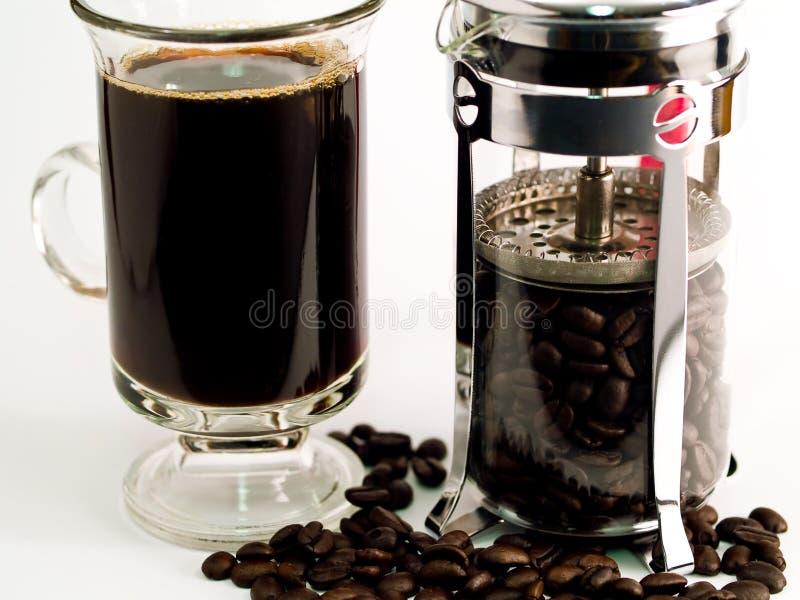 Fasoli kawowa Kawa Gruntuje Filiżankę obrazy royalty free