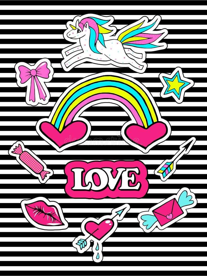 Fasonuje łat odznaki z jednorożec, sercem, wargami, tęczą i innymi elementami dla dziewczyn, nosi tło Set doodle majchery, royalty ilustracja