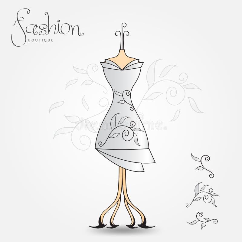 Fasonuje butika, wieczór suknia, rocznik ikony wektoru ilustracja Tkanina wzór dla odziewa royalty ilustracja
