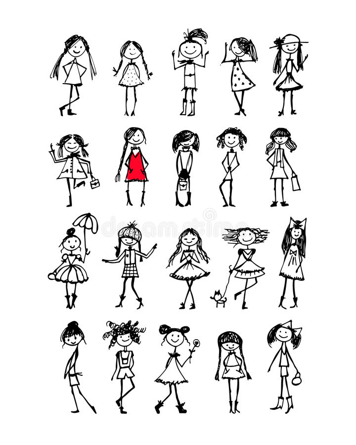 Fasonuje dziewczyny kolekcję, nakreślenie dla twój projekta ilustracji