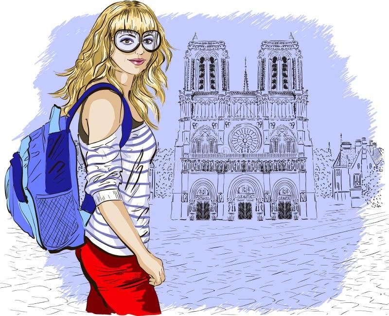 Fasonuje dziewczyny w Paryż przeciw notre paniusi de Paris ilustracja wektor