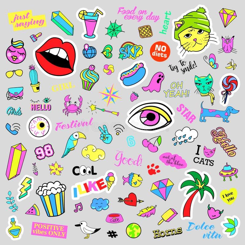 Fasonuje dziwaczne kreskówki doodle łaty odznaki z ślicznymi elementami Odosobniony wektor Set majchery, szpilki, łaty w komiczce ilustracji