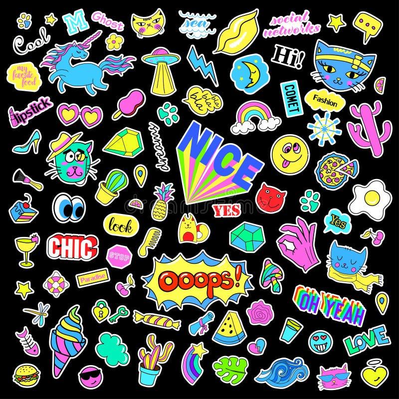 Fasonuje dziwaczne kreskówki doodle łaty odznaki z ślicznymi elementami Odosobniony wektor Set majchery, szpilki, łaty w komiczce royalty ilustracja