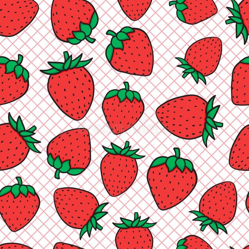 Fasonuje ilustrację czerwony truskawkowy bezszwowy wzór Ręka rysunku nakreślenie na siatce również zwrócić corel ilustracji wekto ilustracji