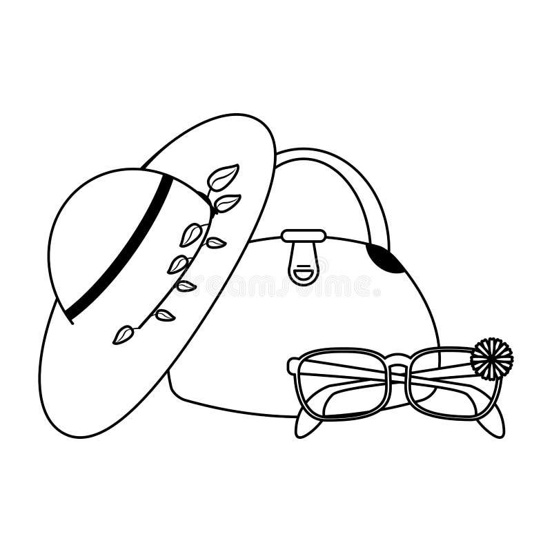Fasonuje kobiet brzęczenia z torbą i okularami przeciwsłonecznymi w czarny i biały ilustracja wektor