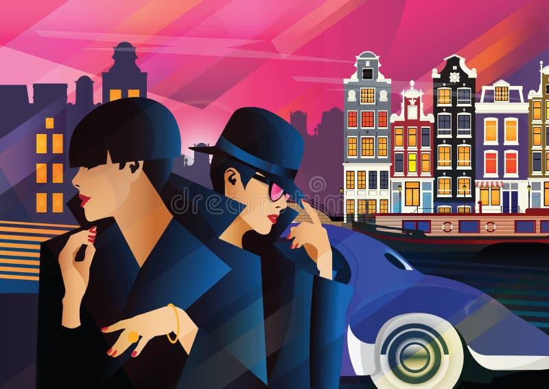 Fasonuje kobiety w stylowej wystrzał sztuce w Amsterdam zdjęcie royalty free