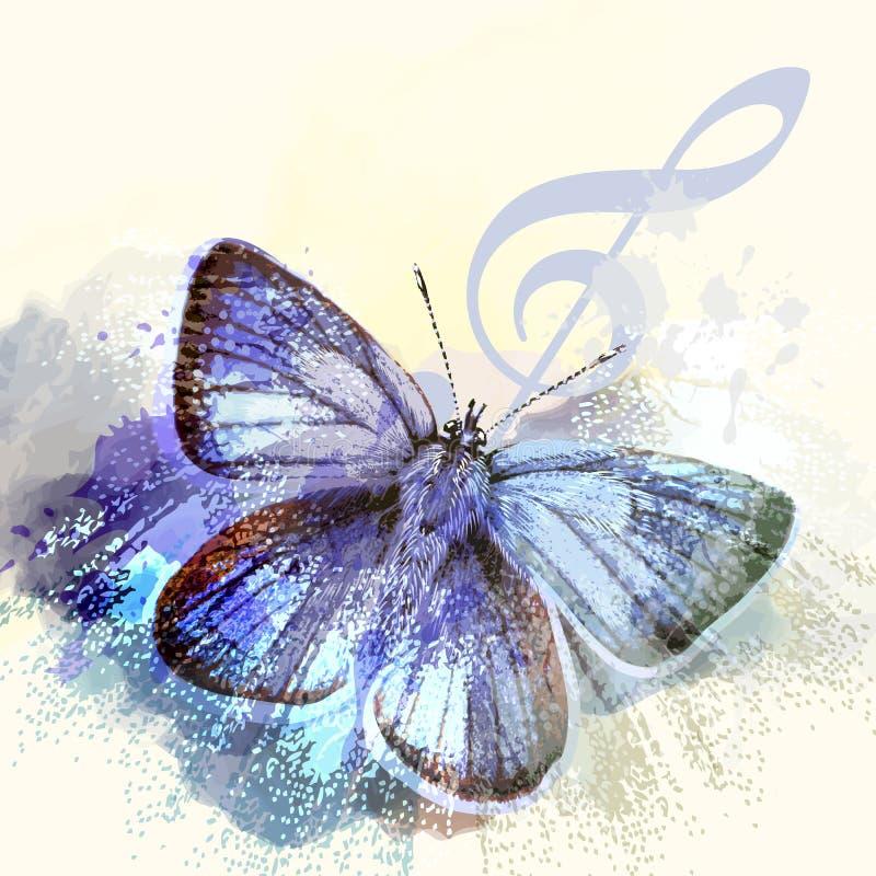Fasonuje motyliego tło z treble motylem i clef ilustracji