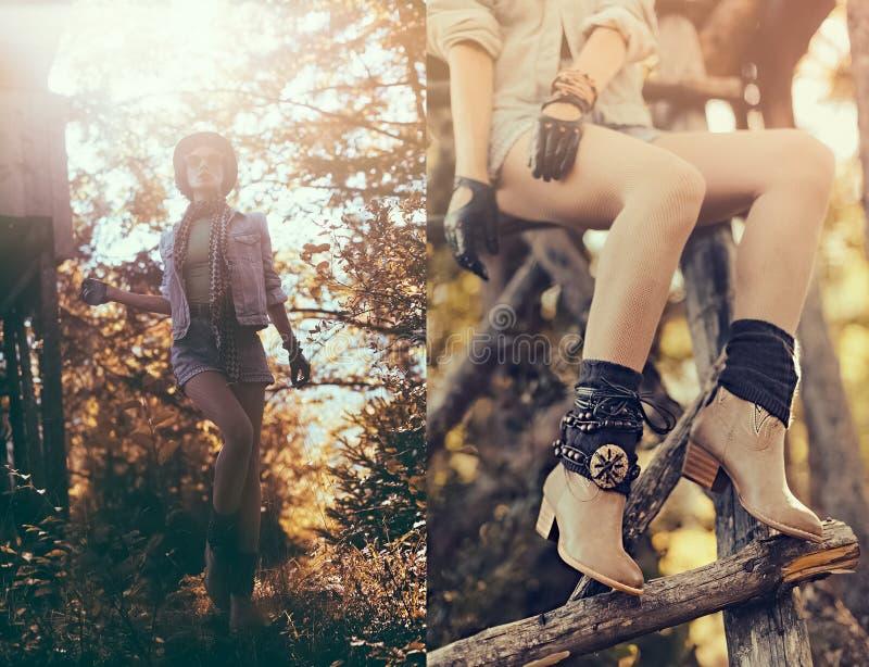 Fasonuje portret brunetki dziewczyny w jesień kraju lasowym sty zdjęcie stock