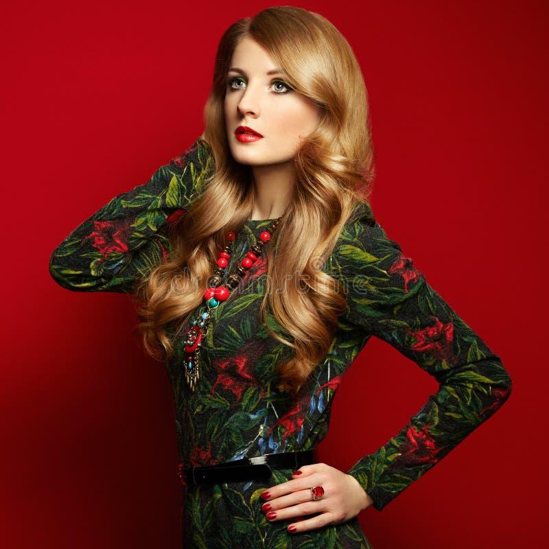 Fasonuje portret elegancka kobieta z wspaniałym włosy zdjęcie royalty free