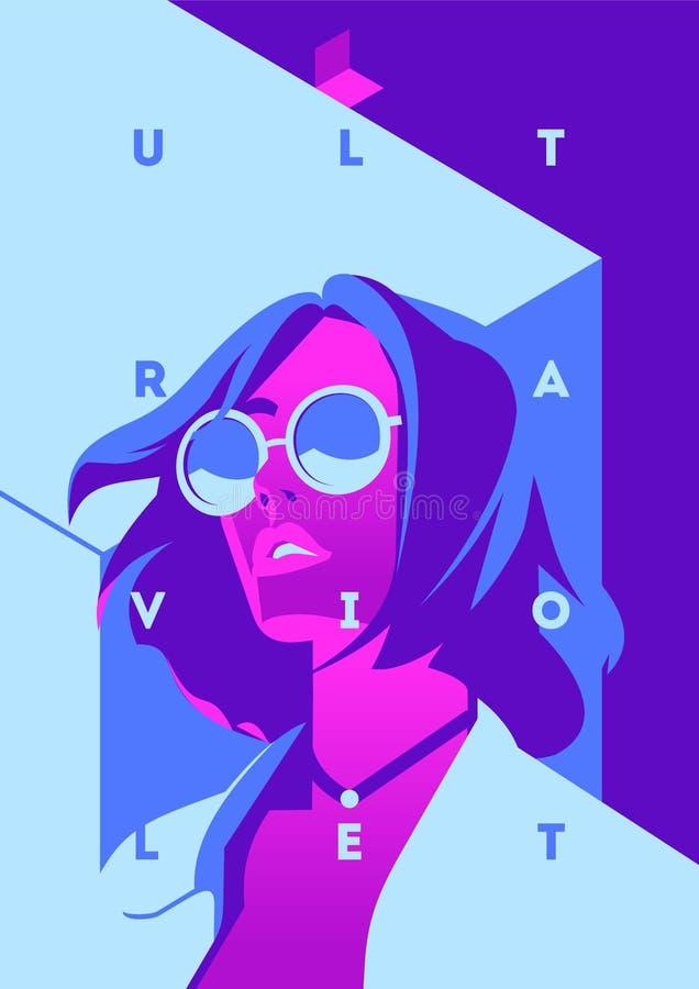 Fasonuje portret wzorcowa dziewczyna neonowy światło i Pozafioletowi modni kolory plakat lub ulotka ilustracji