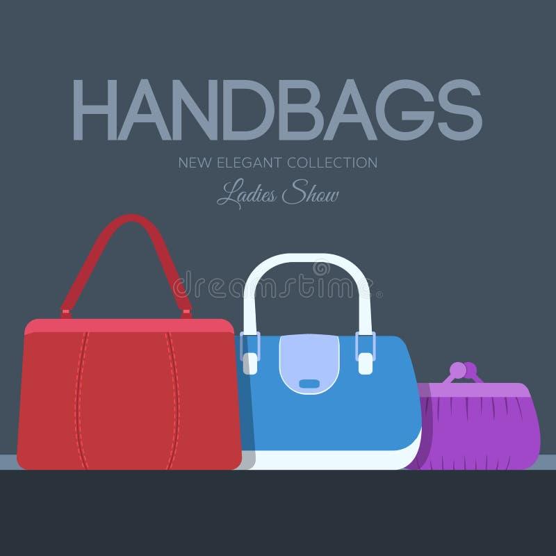Fasonuje torebki i torby w płaskich ilustracyjnych pojęcie ikonach ustawiać Szablon dla strony internetowej i wiszącej ozdoby urz royalty ilustracja