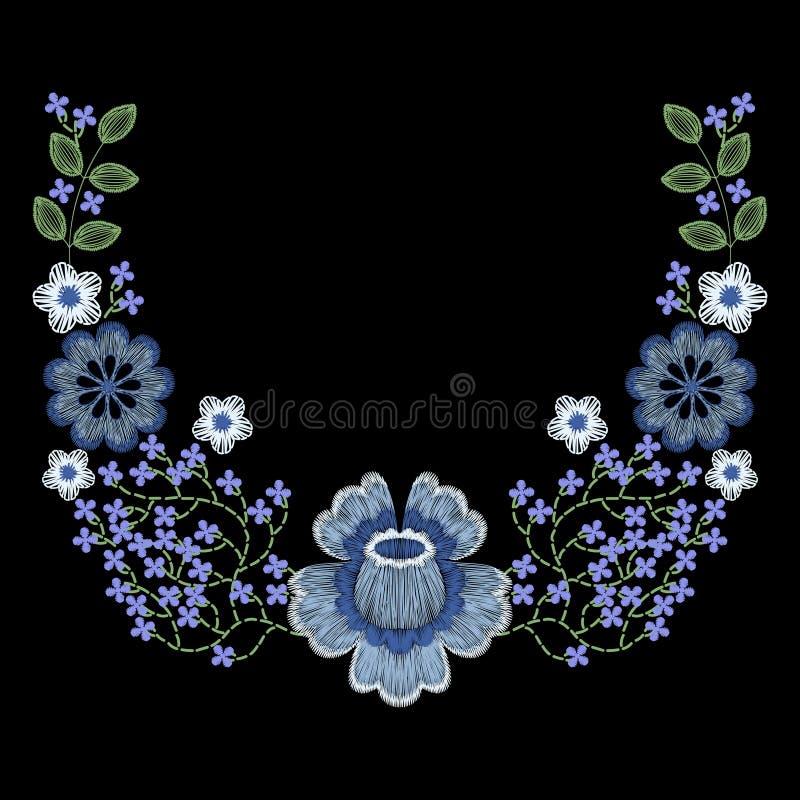 Fasonuje upiększonego kwiecistego neckline, hafciarska łata dla odzieży, jest ubranym dekorację royalty ilustracja