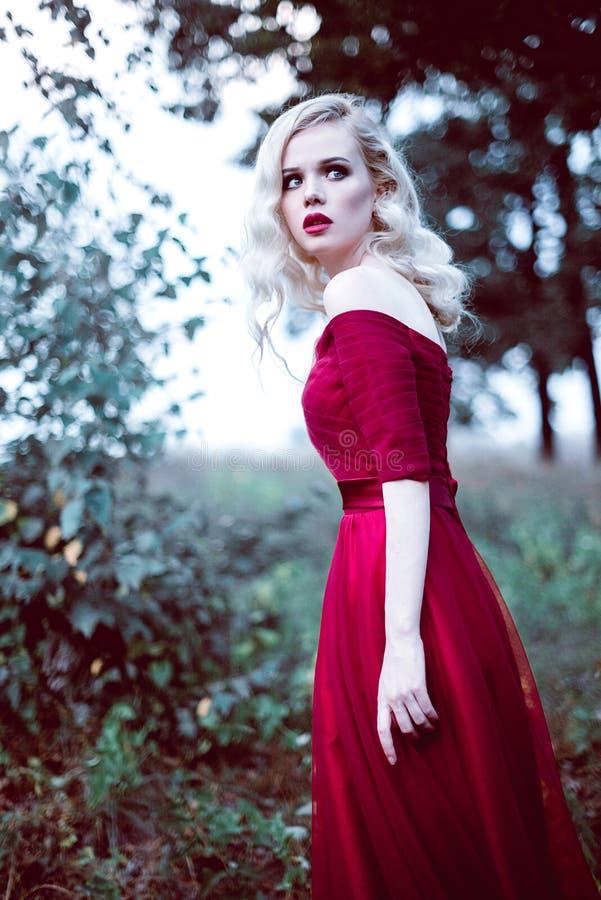 Fasonuje wspaniałej młodej blondynki kobiety w pięknej czerwieni sukni w baśniowej lasowej magicznej atmosferze Retuszujący tonow zdjęcia stock