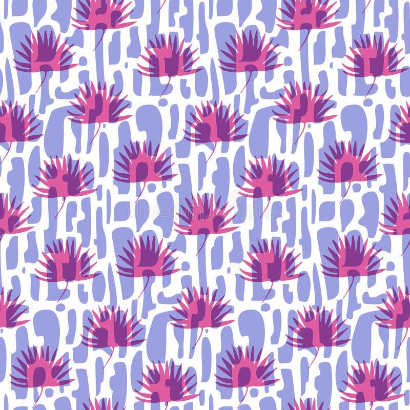 Fasonuje wzór z cegłami i różowi zwrotników liście ilustracja wektor