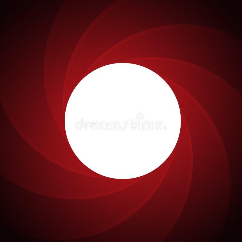 Fass eines Gewehrs innerhalb des roten Hintergrundes Geheimagent-Themahintergrund des Vektors vektor abbildung