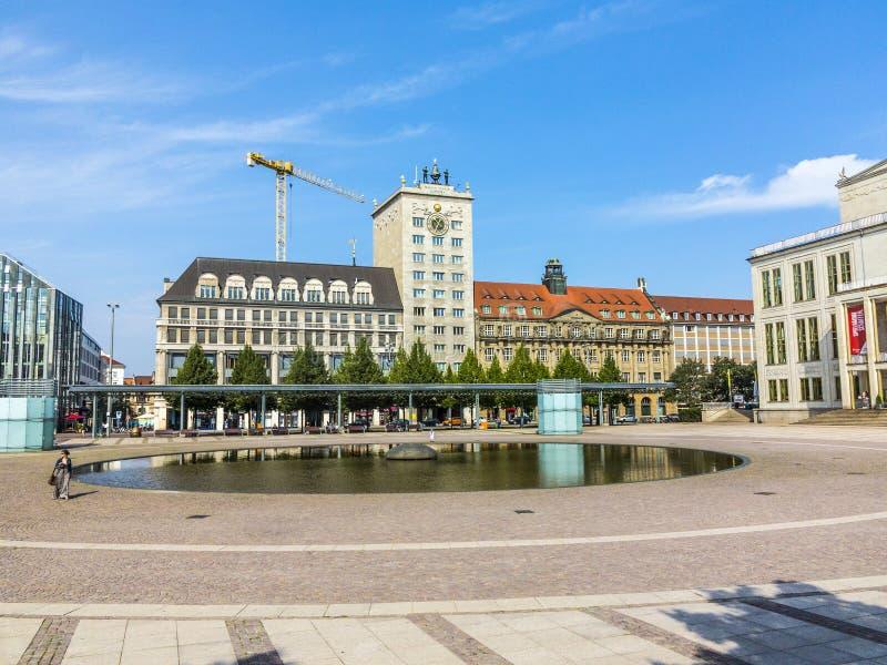 Fassade berühmten Krock-Wolkenkratzers in Leipzig lizenzfreies stockfoto