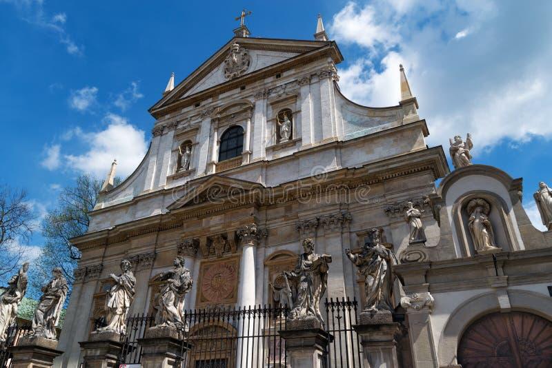 Fassade der barocken Kirche von St Peter und von Paul in Krakau polen stockfoto