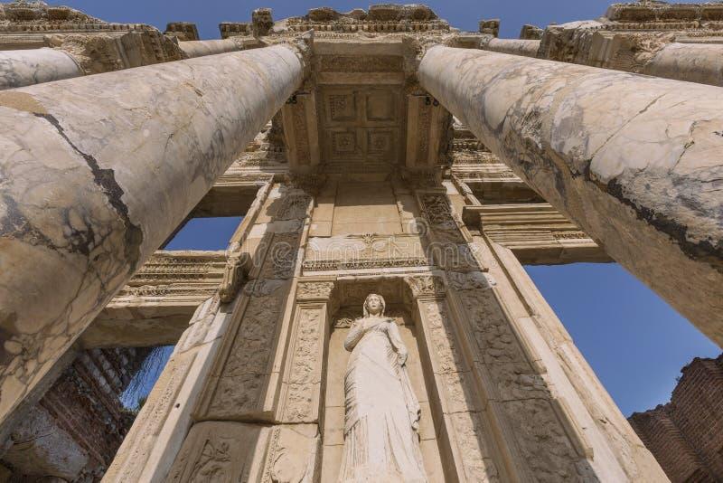 Fassade der römischen Bibliothek von Celsus, Ephesus, die Türkei stockfotografie
