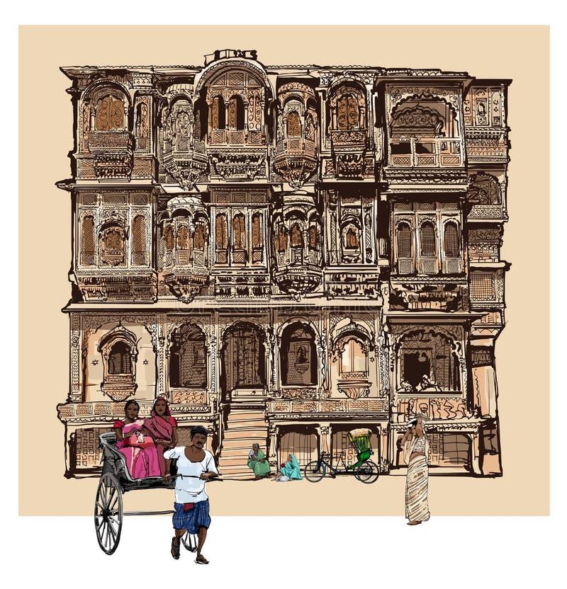 Fassade des alten Hauses mit Balkonen in Jodhpur, Indien vektor abbildung