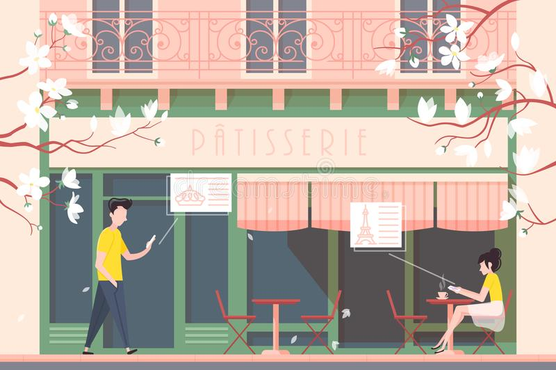 Fassade des Cafés oder der Cafeteria lizenzfreie abbildung