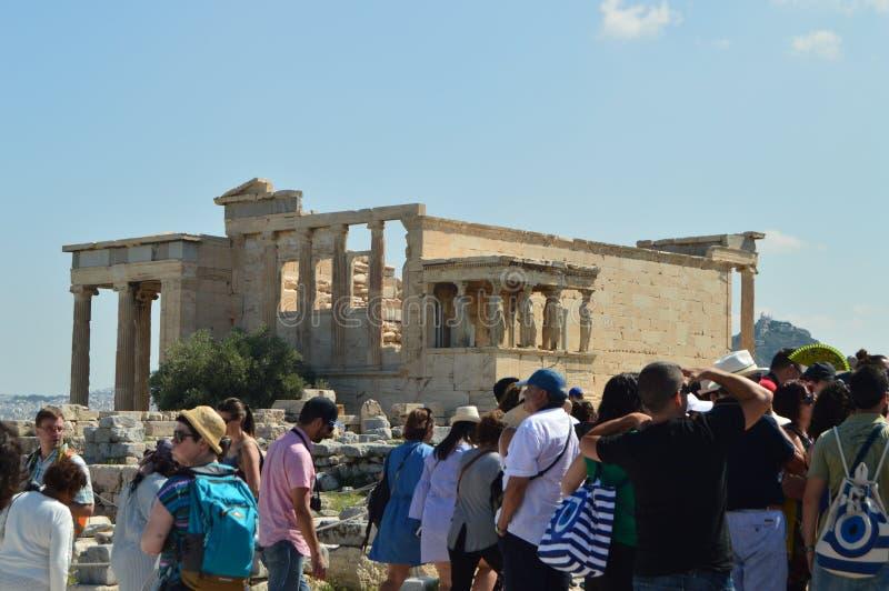 Fassade des Erechtheion bekannt als die Karyatiden an der Akropolise von Athen Geschichte, Architektur, Reise, Kreuzfahrten stockfotografie