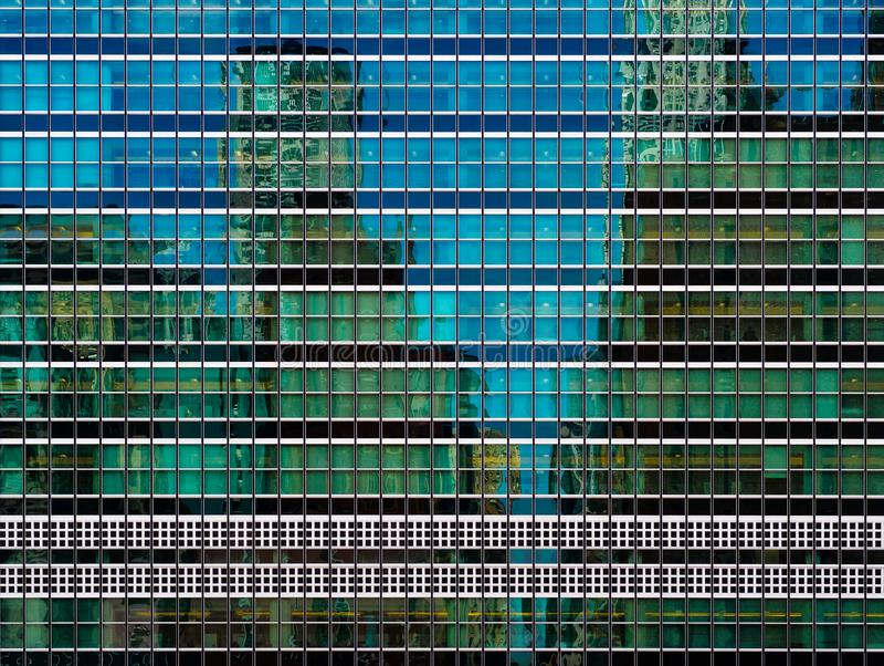Fassade des grünen Glases der UNO hat in New York City Hauptsitz stockfotos