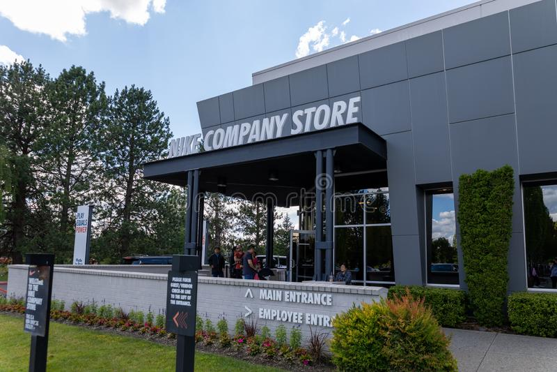 Fassade des Nike-Firmenshops in Beaverton, Oregon lizenzfreies stockfoto