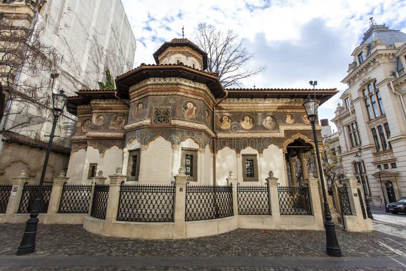 Fassade des Stavropoleos-Klosters in Bukarest, Rumänien stockbild