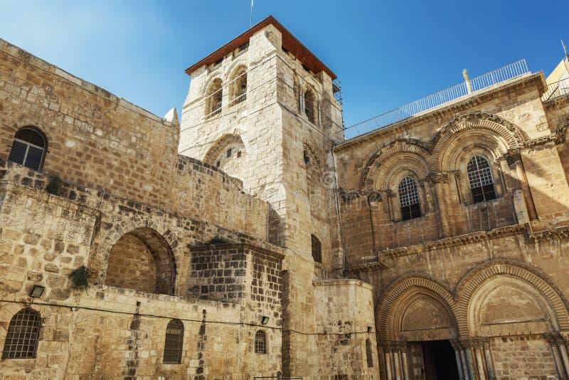 Fassade des Tempels vom heiligen begraben in Jerusalem Heller blauer Himmel an einem sonnigen Tag stockbilder