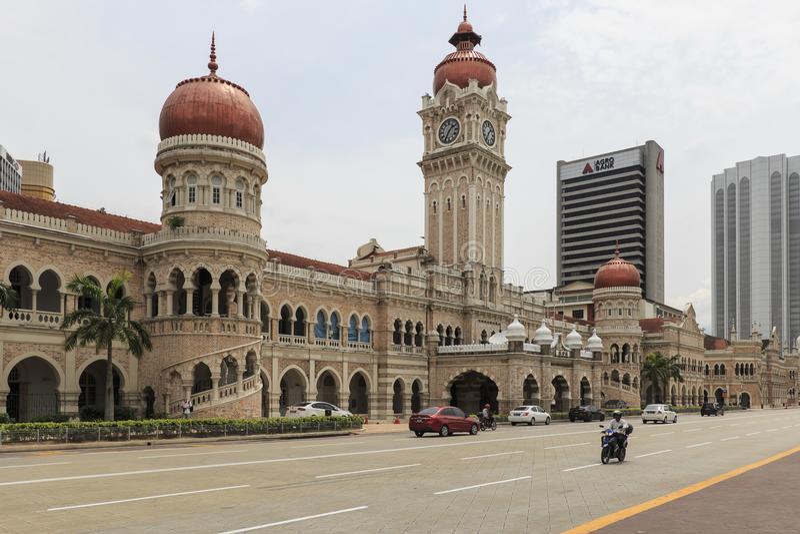 Fassade Sultan Abdul Samad Buildings in Kuala Lumpur, Malaysia am Mittag lizenzfreies stockbild