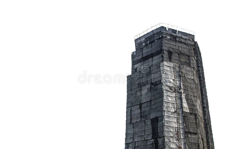 Fassaden-Sicherheits-Baustelle-Gebäude Schutz-Gestell-Abdeckungen in der schwarzen Farbe stockfotos