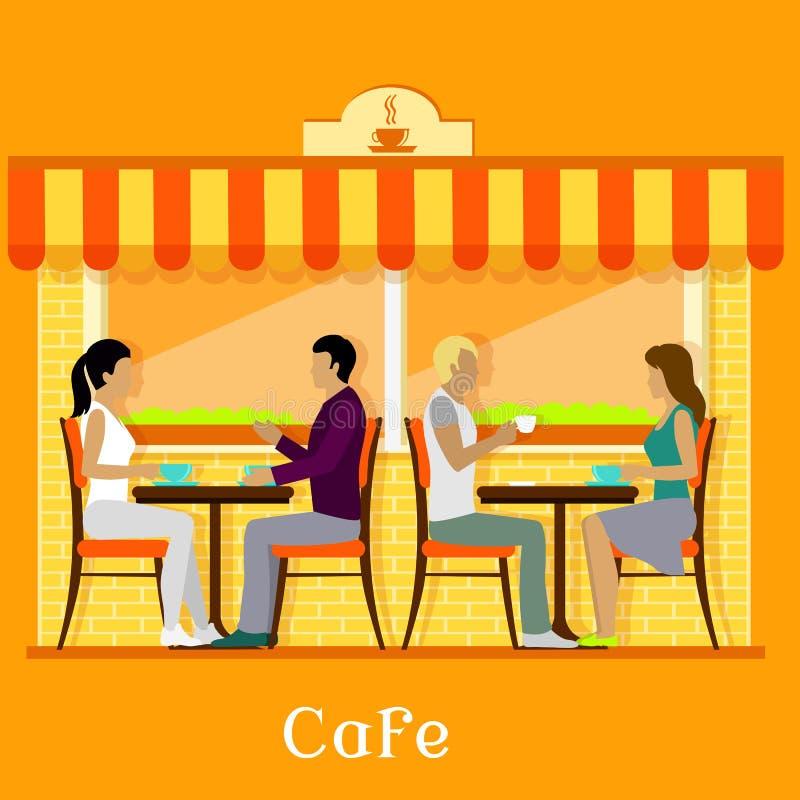 Fassaden-städtisches Café mit Kunden lizenzfreie abbildung
