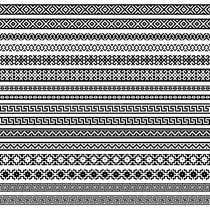 Fassen Sie Dekorationselementmuster im Schwarzen und in w ein stock abbildung