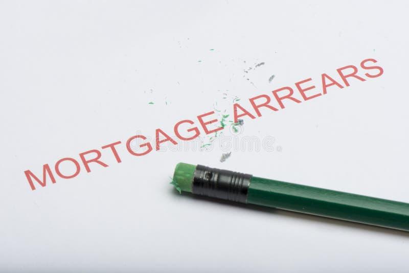 Fassen Sie ` Hypotheken-Rückstände ` mit abgenutztem Bleistift-Radiergummi und Schnitzeln ab lizenzfreie stockfotografie