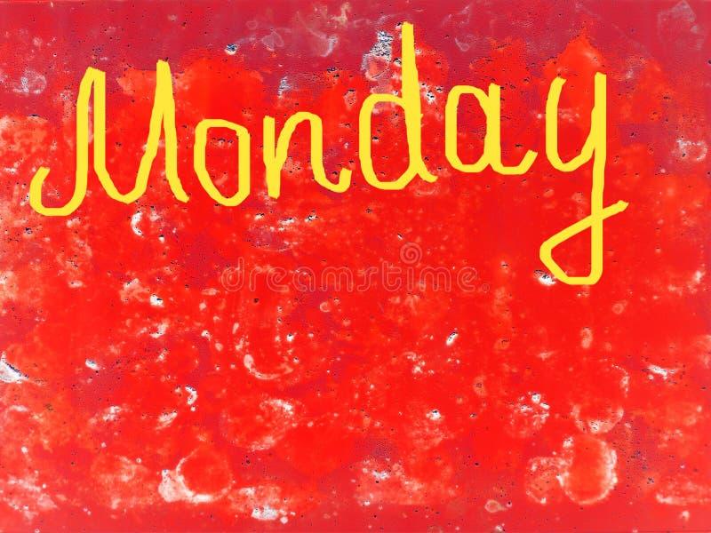 Fassen Sie Montag, der eigenhändig mit einer Bürste in Gelb auf einen strukturierten roten Hintergrund geschrieben wird ab, kopie stockbilder