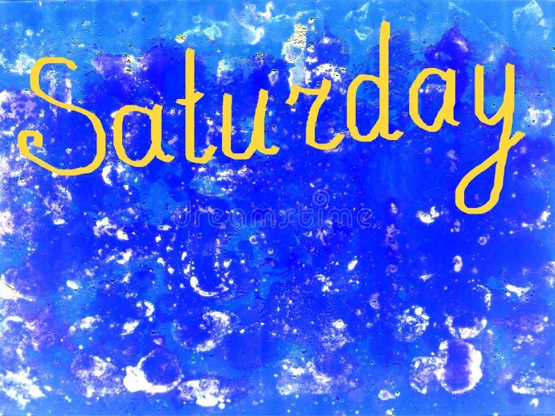 Fassen Sie Samstag, der eigenhändig mit einer Bürste in Gelb auf einen strukturierten blauen Hintergrund geschrieben wird ab, kop stockfotografie