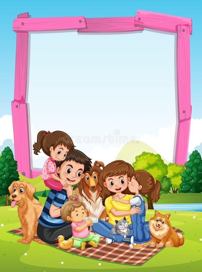 Fassen Sie Schablone mit der Familie ein, die Picknick im Park hat stock abbildung